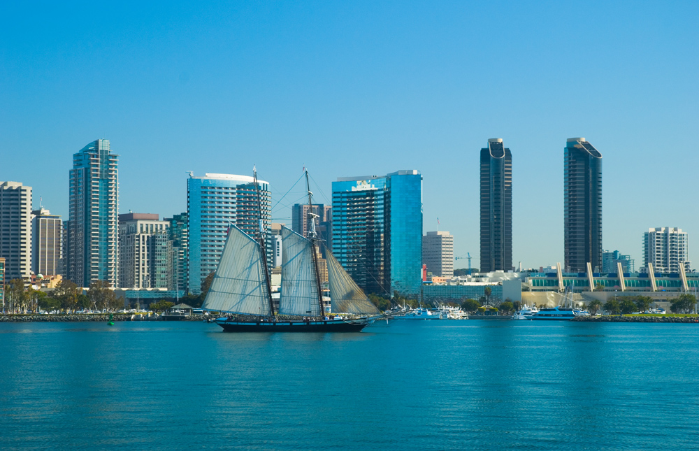 """San Diego Downtown Skyline, Bay, and Sailing Ship"""